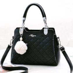 B169B-black Tas Handbag Pesta Pom Pom Elegan Terbaru