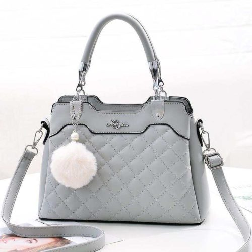 B169B-gray Tas Handbag Pesta Pom Pom Elegan Terbaru