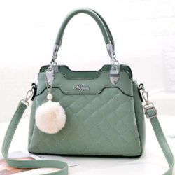 B169B-green Tas Handbag Pesta Pom Pom Elegan Terbaru