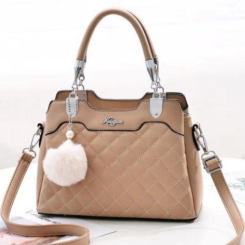 B169B-khaki Tas Handbag Pesta Pom Pom Elegan Terbaru