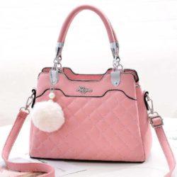 B169B-pink Tas Handbag Pesta Pom Pom Elegan Terbaru