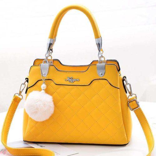 B169B-yellow Tas Handbag Pesta Pom Pom Elegan Terbaru