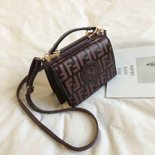 B25493-coffee Tas Handbag Wanita Elegan Tali Selempang