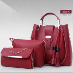B3015-red Tas Handbag Wanita 3in1 Import Terbaru