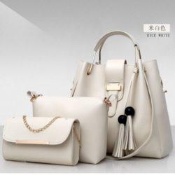 B3015-beige Tas Handbag Wanita 3in1 Import Terbaru