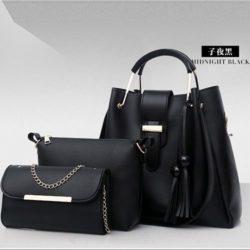 B3015-black Tas Handbag Wanita 3in1 Import Terbaru