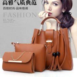 B3015-brown Tas Handbag Wanita 3in1 Import Terbaru