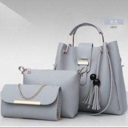 B3015-gray Tas Handbag Wanita 3in1 Import Terbaru