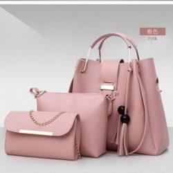 B3015-pink Tas Handbag Wanita 3in1 Import Terbaru