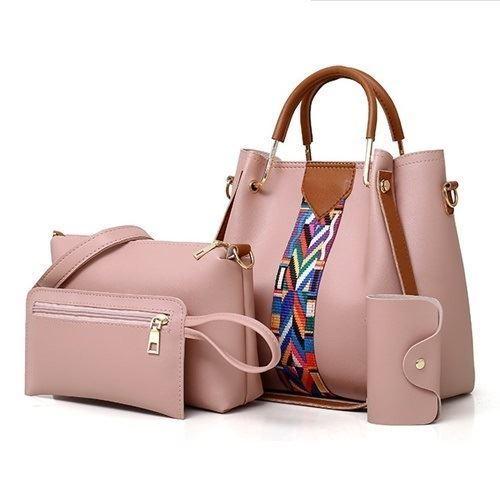 B3108-pink Tas Selempang Wanita Elegan 4in1