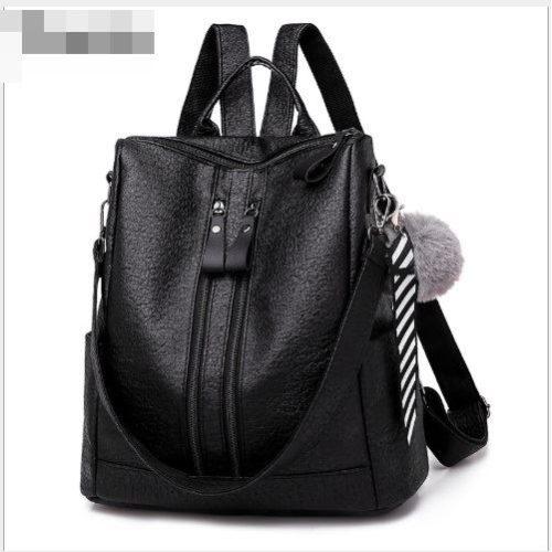 B4310-black Tas Ransel Selempang Gantungan Pom Pom Import