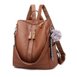 B4310-brown Tas Ransel Selempang Gantungan Pom Pom Import