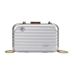 B5502-silver Tas Selempang Mini Koper Import Cantik