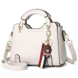 B629-beige Tas Handbag Elegan Gantungan Bear Import Terbaru