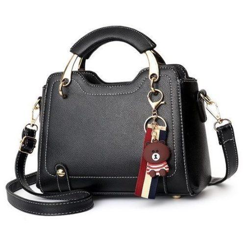 B629-black Tas Handbag Elegan Gantungan Bear Import Terbaru