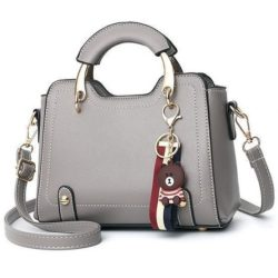 B629-darkgray Tas Handbag Elegan Gantungan Bear Import Terbaru