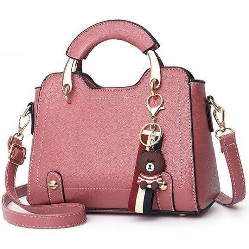 B629-darkpink Tas Handbag Elegan Gantungan Bear Import Terbaru