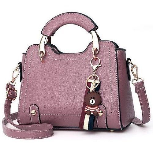 B629-darkpurple Tas Handbag Elegan Gantungan Bear Import Terbaru