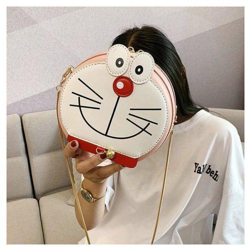 B8006-pink Tas Slingbag Motif Doraemon Tali Rantai Lucu