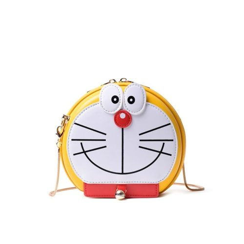 B8006-yellow Tas Slingbag Motif Doraemon Tali Rantai Lucu