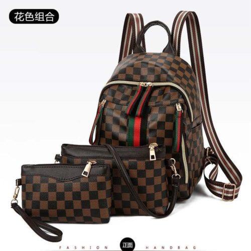 B8046-brown Tas Ransel Wanita Stylish 3in1 Import