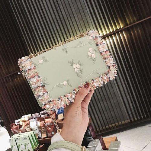 B81644-green Tas Slingbag Motif Cantik Import Terbaru
