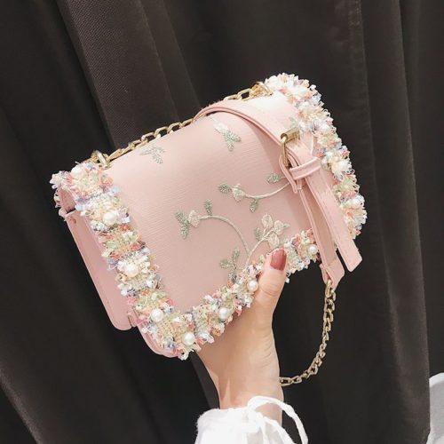B81644-pink Tas Slingbag Motif Cantik Import Terbaru