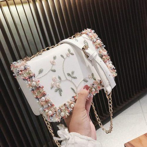 B81644-white Tas Slingbag Motif Cantik Import Terbaru