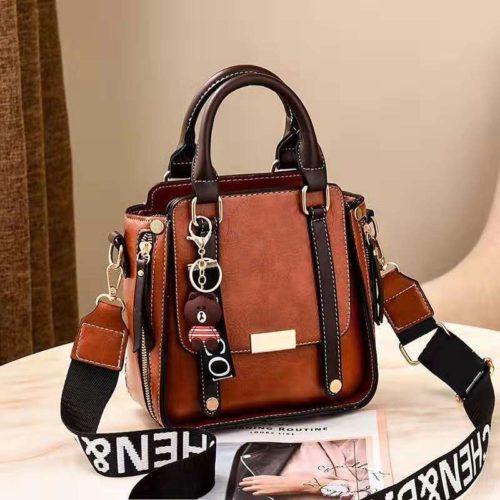 B8491-brown Tas Handbag Selempang Gantungan Mini Brown