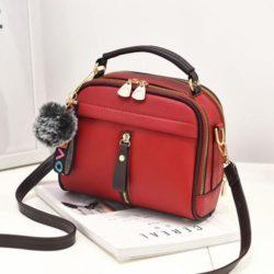 B8691-red Tas Pom Pom Import Wanita Cantik