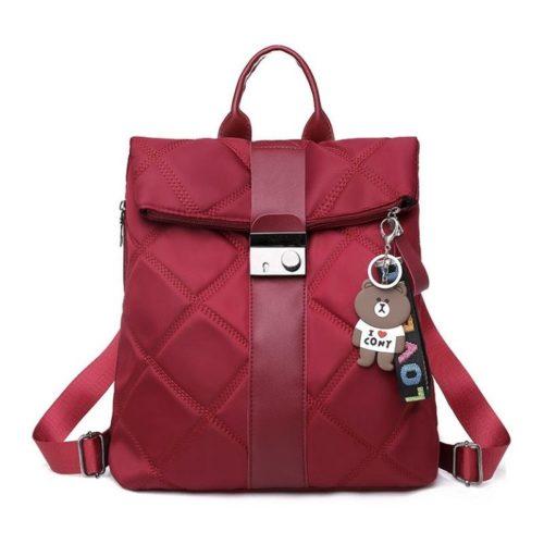 B889-red Tas Ransel Wanita Gantungan Love Cony