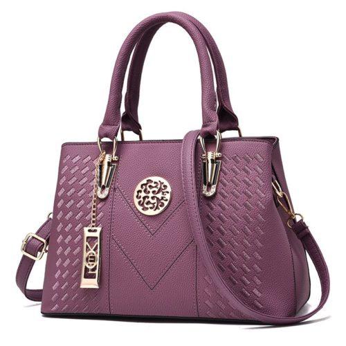 B91260-purple Tas Handbag Selempang Wanita Elegan Import