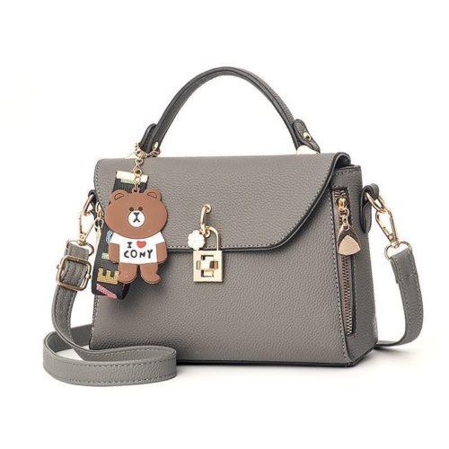B99021-gray Tas Handbag Wanita Cantik Import