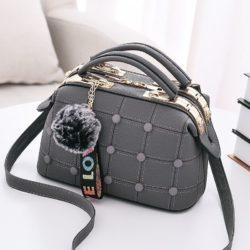 B99663-gray Doctor Bag Pom Pom Import Wanita