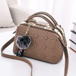 B99663-khaki Doctor Bag Pom Pom Import Wanita