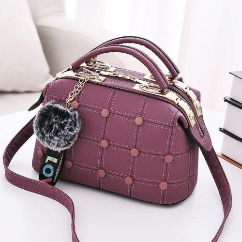 B99663-purple Doctor Bag Pom Pom Import Wanita