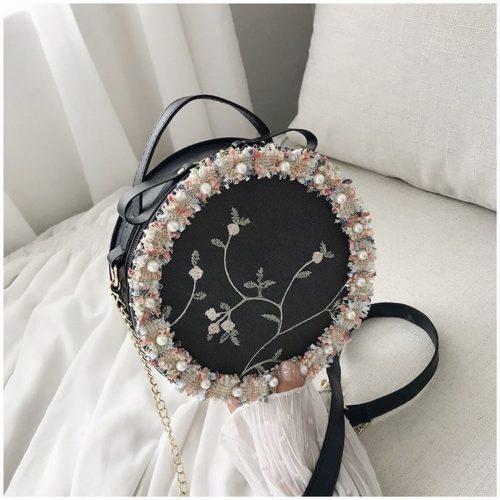 BTH13397-black Slingbag Circle Stylish Cantik Import