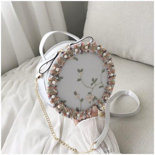 BTH13397-white Slingbag Circle Stylish Cantik Import