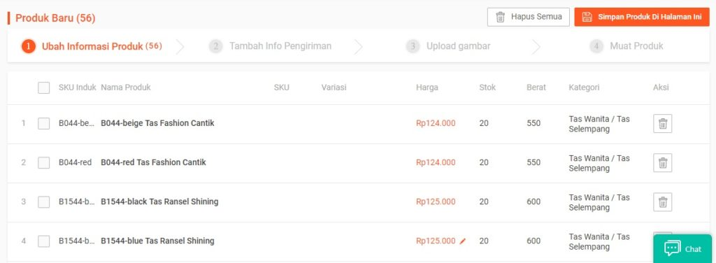 Cara Shopee Mass Update Produk Shopee Step 6 - List Produk