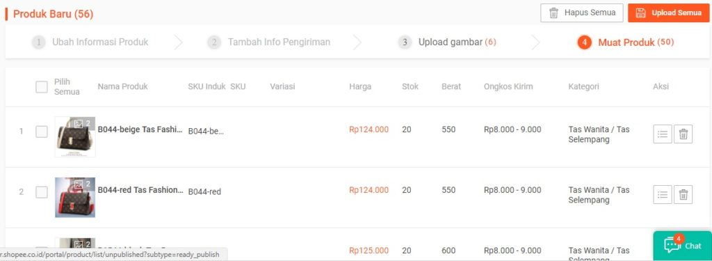Cara Shopee Mass Update Produk Shopee Step 9 - Upload Produk