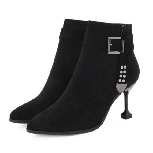 JSB8801-black Sepatu Heels Ankle Boots Bludru Import 8CM