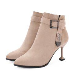 JSB8801-khaki Sepatu Heels Ankle Boots Bludru Import 8CM