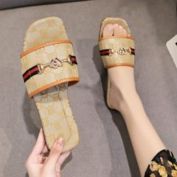 JSF506-beige Sandal Flat Shoes Wanita Cantik Import