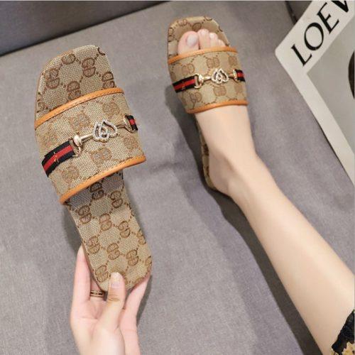 JSF506-khaki Sandal Flat Shoes Wanita Cantik Import