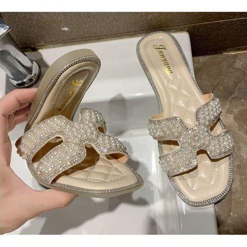 JSF518-beige Flat Shoes Import Wanita Elegan