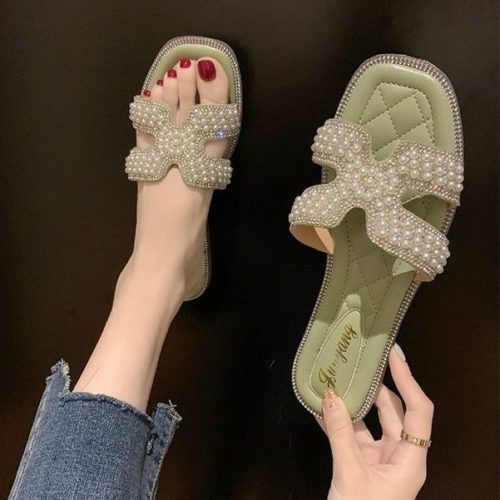 JSF518-green Flat Shoes Import Wanita Elegan
