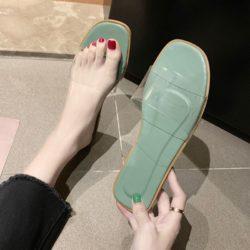 JSF551-green Sandal Flat Shoes Transparan Wanita Cantik