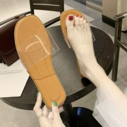 JSF551-khaki Sandal Flat Shoes Transparan Wanita Cantik