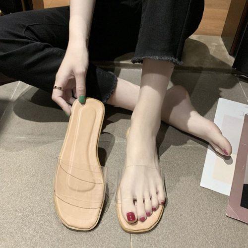 JSF551-pink Sandal Flat Shoes Transparan Wanita Cantik