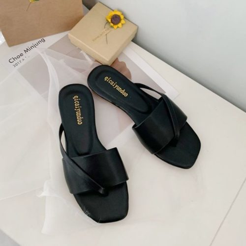 JSF801-black Sandal Flat Wanita Cantik Import Terbaru